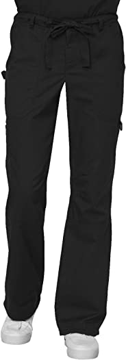 KOI Men's James Elastic Scrub Pants with Zip Fly and Drawstring Waist, Black, Small/Short