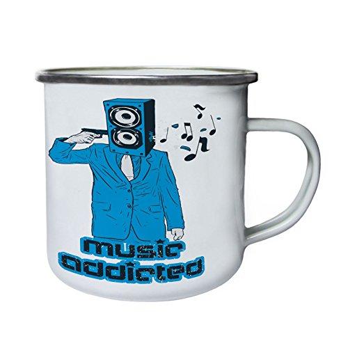 Musik süchtiger Mann blaues Kostüm Retro, Zinn, Emaille 10oz/280ml Becher Tasse ()