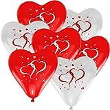 10 Herz Luftballons Ø 30 cm mit Motiv Herzen Farbe frei wählbar Herzballons Helium Luftballon (Rot/Weiß)