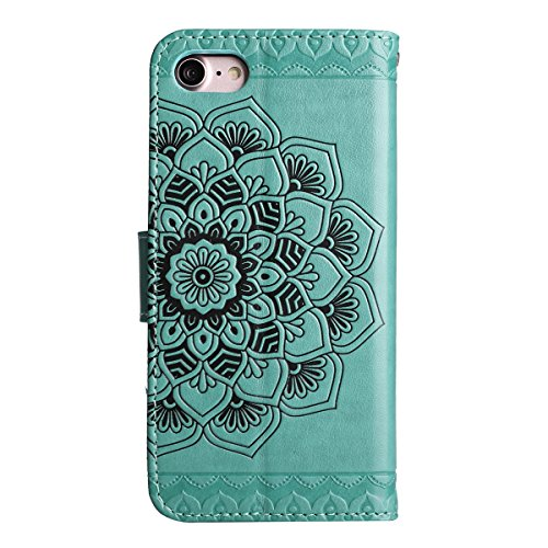 Ekakashop Custodia iPhone 7 4.7, Puro Colore Fiore Modello Sollievo Design Portafoglio Tasca Book Folding Case Cover in PU pelle Borsa Con Cinturino Portatile Antiurto Shock-Absorption Cover Ultra Sl Verde