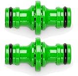 tillvex 2 Schlauchverbinder/Kupplung zur Schlauchverlängerung 1/2 Zoll - Kompatibel u.a flexiSchlauch - Flexibler Gartenschlauch & für Gardena/Kärcher