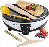 VonShef Pancake Crepe Maker with Batter Spreader, Oil Brush, Wooden Spatula & Ladle - Non-Stick, Electric 1000W