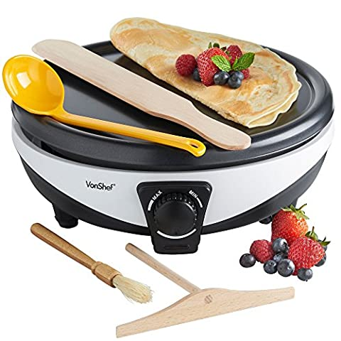 VonShef 1000W Professional Non Stick Electric Crepe/ Pancake Maker with