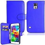 Produkt-Bild: Brillant exécutif Samsung S5 Bleu flip Wallet couverture synthétique Étui en cuir avec deux emplacements de carte pour Samsung S5