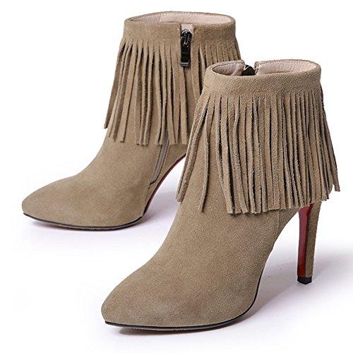 Stivali a punta femminile primavera/ fibbia in metallo moda stivali Martin/ gli stivali da lavoro-B Lunghezza piede=23.3CM(9.2Inch)