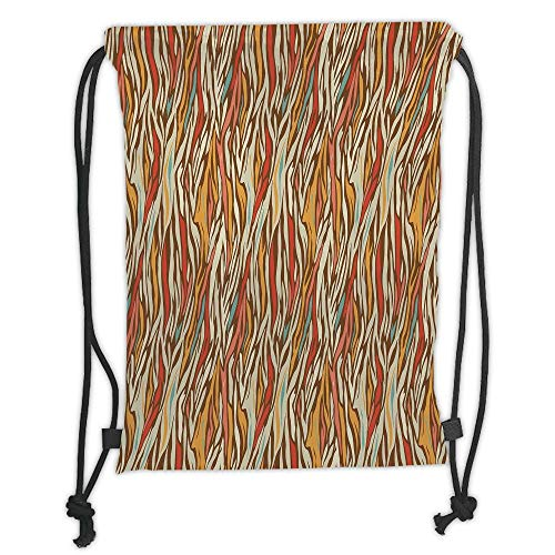 Drawstring Backpacks Bags,Zebra Print,Abstract Geometric Zebra Pattern Strips in Vintage Colors Creative Artwork,Mustard Coral Teal Soft Satin,5 Liter Capacity,Adjustable String Cl -