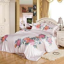 orifashion romantique rose imprim floral 3 pices en soie charmeuse housse de couette sdvkfp015 - Housse De Couette Romantique Rose