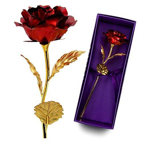 Rosa rossa,placcatura in foglia d'oro 24 carati rose con pacco regalo, regali di anniversario di matrimonio & festa della mamma,regali di valentino rossi & compleanno per lei