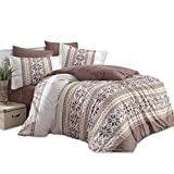 TI Home Carla Braun Bettbezug Set, 100% Baumwolle, doppelte Größe, 4Stück