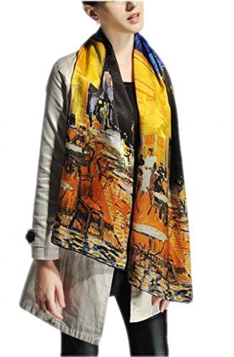 Prettystern P834 - 160cm Malerei Kunstdruck Schal aus reiner Seide - van Gogh - Caféterrasse bei Nacht - Hand Gerollt Seide Schal