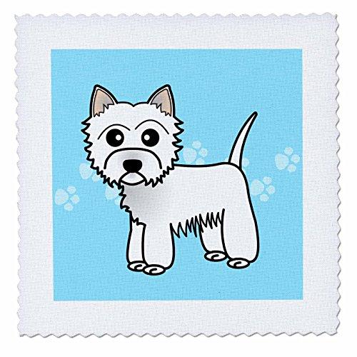 3drose QS _ 58607_ 1Cute Cartoon West Highland Terrier Westie Hund auf Blau Paw Prints Quilt Platz, 10von 25,4cm (Decke West Highland)