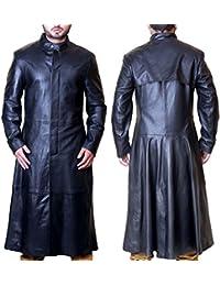 Superior Leather Garments SLG Matrix Movie Neo da Uomo in Vera Pelle Nera  Giacca Cappotto 561f97ef23f