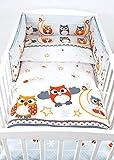 BABYLUX Bettwäsche Bezug 2 Tlg. 100 x 135 cm Kinderbettwäsche Bettwäsche Bettset Babybettwäsche (57. Eule Grau)