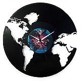 Uhr Welt Geschenkidee, Schwarz, Marke Vinyluse original