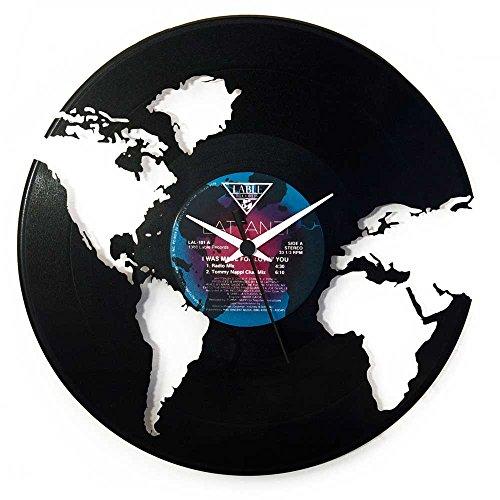 Orologio Mondo idea regalo colore nero in vinile marca: Vinyluse originale souvenir