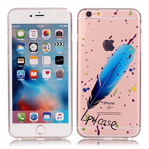 Cozy Hut ® für iPhone 6 Plus / 6S Plus (5,5 Zoll), Schutzhülle / Case / Cover / Hülle / TPU Gel Skin Colorful Pattern Bunte Muster Kunststoff Serie für iPhone 6 Plus / 6S Plus (5,5 Zoll) Hülle Beutel  Blaue Feder