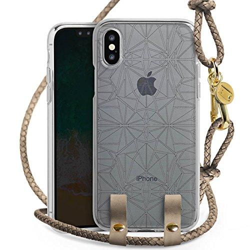 Apple iPhone X Carry Case Hülle zum Umhängen Handyhülle mit Kette Transparent mit Muster Mandala Kaleidoskop (Kaleidoskop-muster)