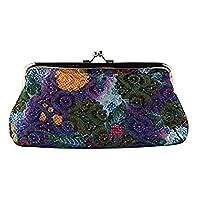 Speedmar Lady Wallet Retro Polyester Flower Pattern Coin Purse Wallet Key Holder - Purple