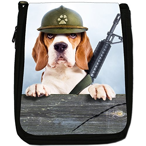 Beagle Cane Medio Nero Borsa In Tela, taglia M Military Beagle Dog - Funny