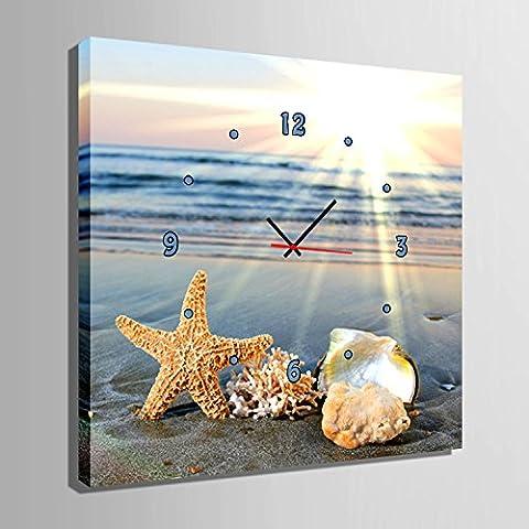 ZRF-pittura Clock Pittura decorativa di conchiglia Beach su in camera da pranzo camera il salotto camera da letto bambini non orologio scatola,40 * 40CM?senza