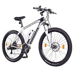 "NCM Prague 36V, 26"" Zoll Elektrofahrrad Mountainbike E-MTB E-Bike, Pedelec, 250W Bafang Heckmotor, 13Ah 468Wh Li-Ion Akku, mechanische Scheibenbremsen, 21 Gang Shimano Schaltung, weiß"