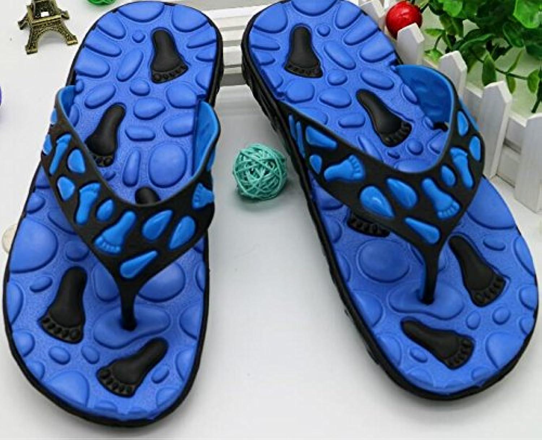 DDOQ Beste Herren Flip Flops Badelatschen Sandalen Hausschuhe Strand Flip Flops (Farbe : Blau  Größe : 42)