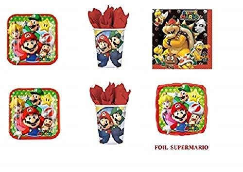 Super Mario Bros Luigi et fête - Kit N ° 14 CDC- (32, 32 verres, 40 assiettes 40 serviettes, 1 ballon Foil)