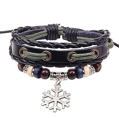 Winter Secret de flocon de neige Pendentif en alliage de cuir noir tressé à la main en perles de bois Bracelet réglable