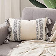 MIULEE Decorative Throw Pillow Cover Tribal Boho Woven Tufted Pillowcase with Tassels Super Soft Pillow Sham C