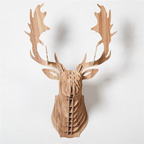 Art de Mur 3D Décorative Suspension, HROOME Tête de Cerf Décoration Murale