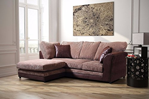 Bayley Ecksofa Leder und Stoff Formale Rückseite, Brown and Coffee, Left Hand Corner -