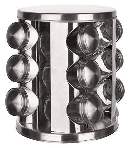 Banchetto portaspezie girevole in acciaio inox e barattoli di vetro con coperchi, colore: trasparente/argento, 80ml, set di 12