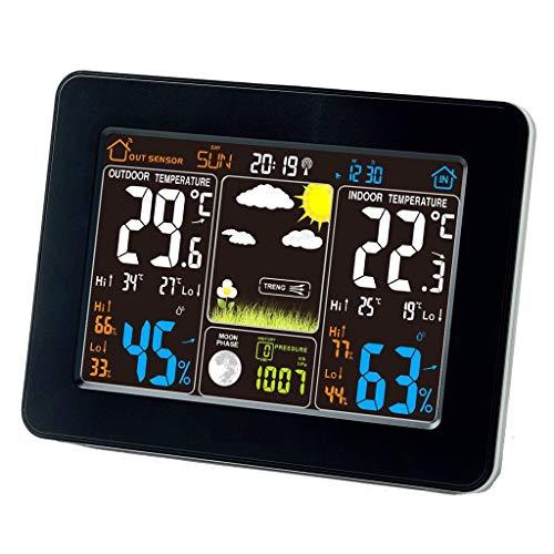 Luftbefeuchter Meter - Atomic Funkwetterstation mit Indoor/Outdoor Wireless Sensor - TG645 Farbdisplay Wetterstation Wecker mit Temperaturwarnungen (Farbe : SCHWARZ) (Luftbefeuchter, Outdoor-sensor)
