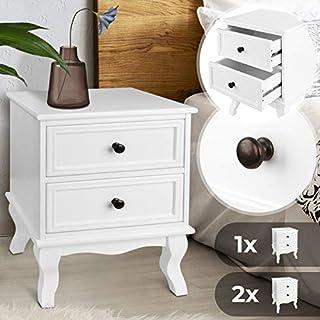 Nachttisch aus robuster MDF-Platte und Holz | 49x34,5x30cm, Weiß, mit zwei Schubladen, einzeln oder 2er-Set | Nachtschrank, Kommode Ablagetisch