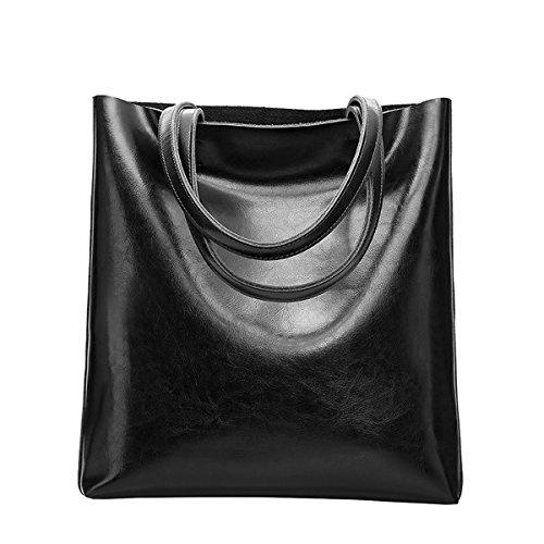 Dissa Q0807 Damen Leder Handtaschen Satchel Tote Taschen Schultertaschen Schwarz