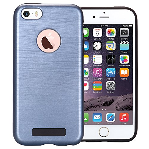 """MOONCASE iPhone 6s Coque Brushed Dual Layer Soft TPU +PC Etui Anti-Scratch Protection Housse Case pour iPhone 6 / 6s 4.7"""" Argent Bleu marin"""