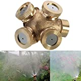 KING DO WAY 4 Trous Buse De Brouillard Réglable En Laiton, Arroseur Irrigation Par Arrosage Automatique Pulvérisation Jardinage DIY Pour Pelouse Jardin Serre