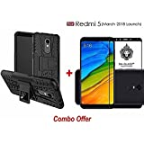 Goelectro Redmi 5 (COMBO OFFER) Hybrid Armor Design Detachable And Stand-up Feature Dual Layer Protective Shell Hard Back Cover Case For (Redmi 5 - 2018 Launch) Redmi 5/ Mi5 + Premium Curved 9H Hardness Tempered Glass Screen Protector (5D Black Gorilla Gl