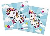 Home Collection Casa Cocina Textiles Set 40 Servilletas Papel Desechable de 3 Capas Motivo Pequeño Unicornio