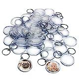 Kurtzy 50 Transparente Acryl Foto Schlüsselanhänger 4.5cm Durchmesser - Brieftaschen freundlicher Schlüsselring für Benutzerdefinierte Personalisierte Bilder - Geeignet für Frauen und Männer