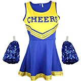 Disfraz de animadora, disfraz de High School Musical, con pompones, Women's, color Blue & Yellow, tamaño X-Large