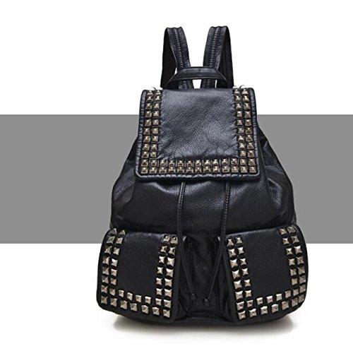 DJB/Soft Washed Leder Taschen Frauen Taschen Trends Rucksack Schwarz