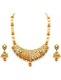 Jfl - Jewellery For Less One Gram Gold Plated Kundan Pearl Cz American Diamond Necklace Set / Jewellery Set With...