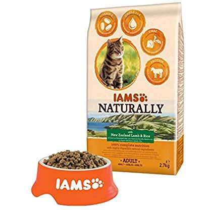 IAMS Naturally Adult Dry Cat Food Rich in New Zealand Lamb and Rice, 2.7 kg 2