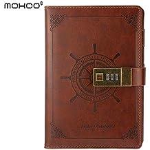 Portátil con cerradura de combinación / portátil / cuaderno diario / Aidememoire / MOHOO Cuaderno secreto PU marrón de estilo retro Oficina de regalo de cuero 112 páginas 205 x 135 mm(# 1)