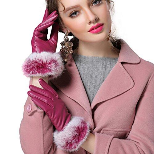 Wärmende Fäustlinge (Butterme Damen Warm Kaninchen Fell gefüttert Leder Handschuhe Texting Touchscreen Handschuhe Winter Warm Handschuhe Fäustlinge (Hot Pink,L))