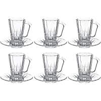 Luminarc Glass Elysees Tea Tumbler + Saucer, Clear