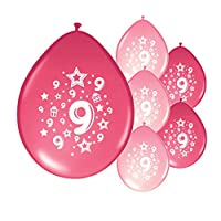 Partyangels 10 x 9th BIRTHDAY GIRL/AGE 9 GIRL PINK AND LIGHT PINK MIX PARTY BALLOONS(PA)