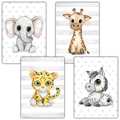Frechdax® Lot de 4 Posters décoratifs pour Chambre d'enfant DIN A4 | Animaux de la forêt Safari...