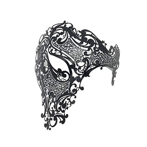 WBCAGN Halloween - Maske schmiedeeiserne Maske mit diamanten aus Metall augenklappe Maskerade der eisernen Maske Weihnachten Feiern mit,schwarz